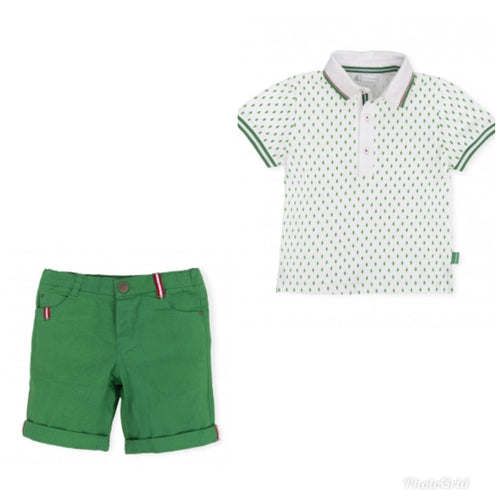 Tutto Piccolo Green Shorts And Polo Set