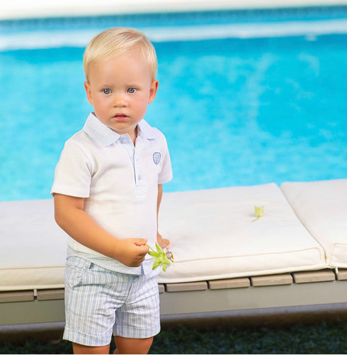 Tutto Piccolo Boys White Top And Stripe Shorts