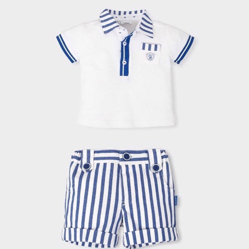 TUTTO PICCOLO Blue & White  2 Piece Shorts Set
