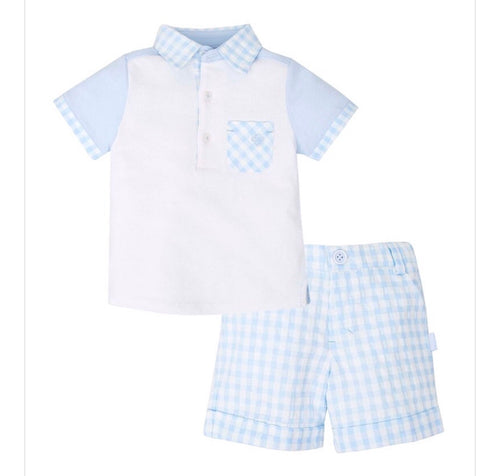 Tutto Piccolo Boys Pale Blue Gingham Shorts Set
