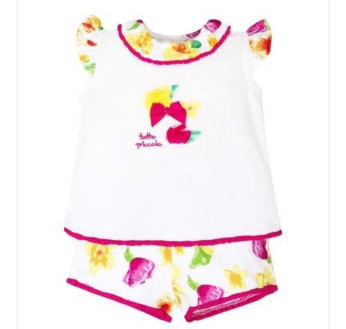 Tutto Piccolo Girls White Floral Shorts Set