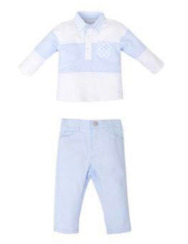 TUTTO PICCOLO BLUE POLO & TROUSERS SET