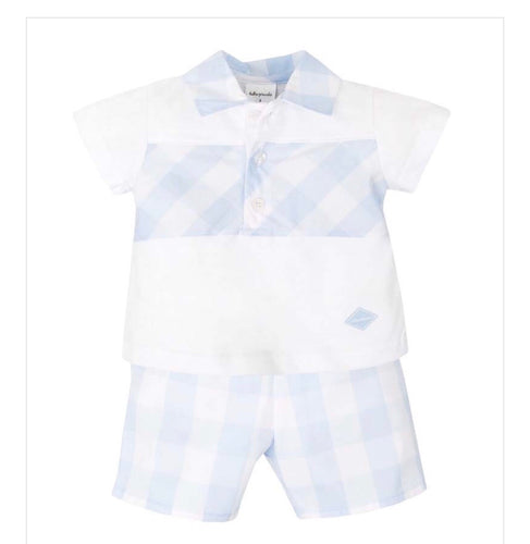 Tutto Piccolo Boys Pale Blue & White Gingham Shorts Set