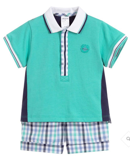 Tutto Piccolo Boys Green 2 Piece Short Set