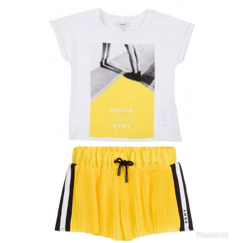 DNKY Girl's Yellow Short Set With White T-Shirt
