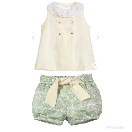 Laranjinha Chic Linen Floral Shorts and Lemon Blouse