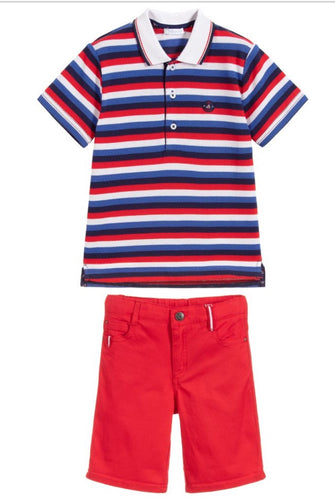 Tutto Piccolo Boys Red Cotton Short Set