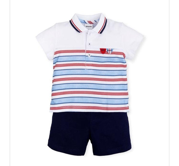 Tutto Piccolo Boys Nautical 2 Piece Short and Polo Set