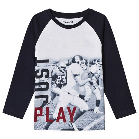 Mayoral White and Navy Football Print  T-Shirt In Stock