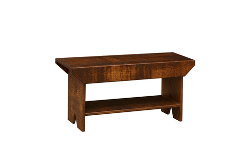 Pine 3-Ft Bench with Shelf