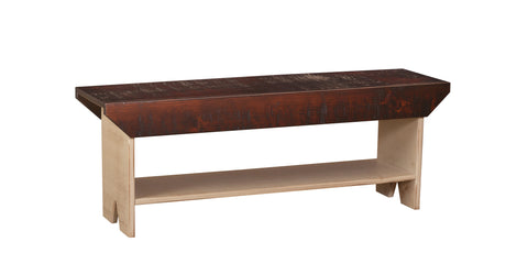 Pine 4-Ft Bench with Shelf