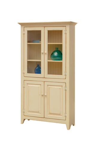 Pine 4 Door Pantry with Glass