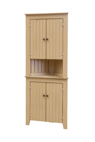 Pine Corner Hutch with Doors