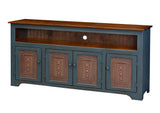 Pine 4-Door TV Console with Tin