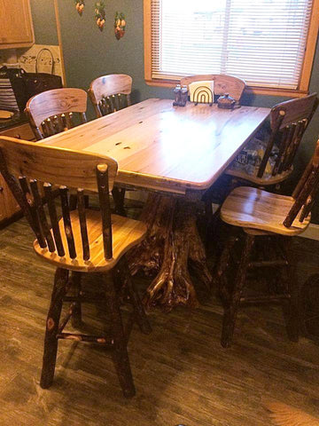 Hickory Stump Table with Hickory Swivel Stools