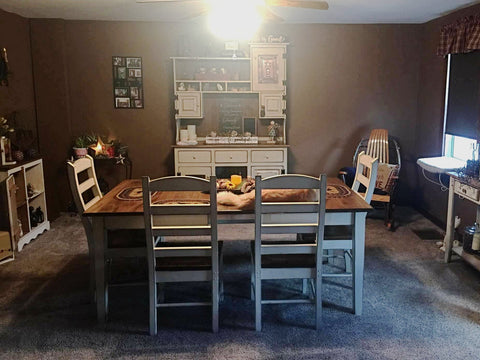 Wormy Maple Extension Table with Ladderback Chairs