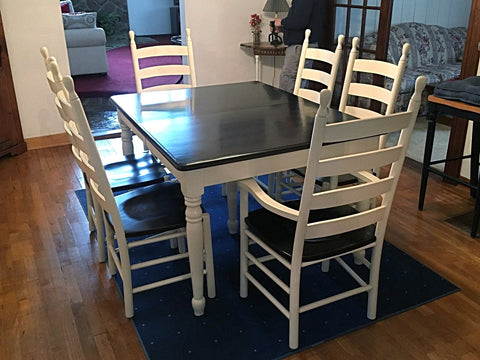 Solid Oak Extension Table with Ladderback Chairs