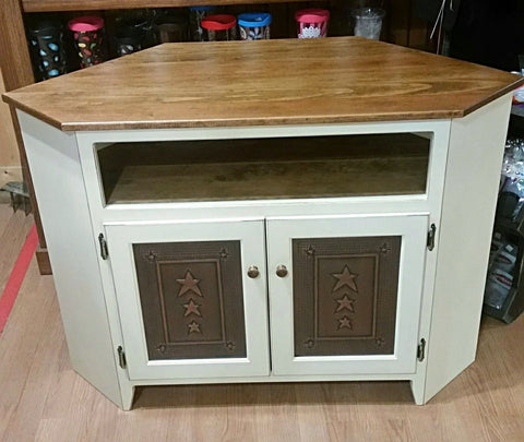 Punched Tin Corner TV Stand