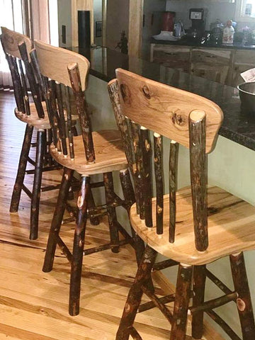 Rustic Hickory Swivel Bar Stools