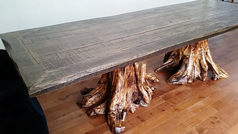 Rustic Barnwood, Double Stump Dining Table