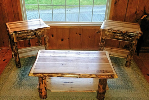 Rustic Hickory and Aspen Coffee and End Tables
