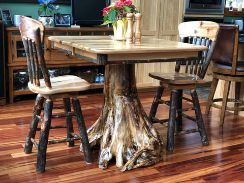 Hickory Stump Table with Hickory Swivel Bar Stools