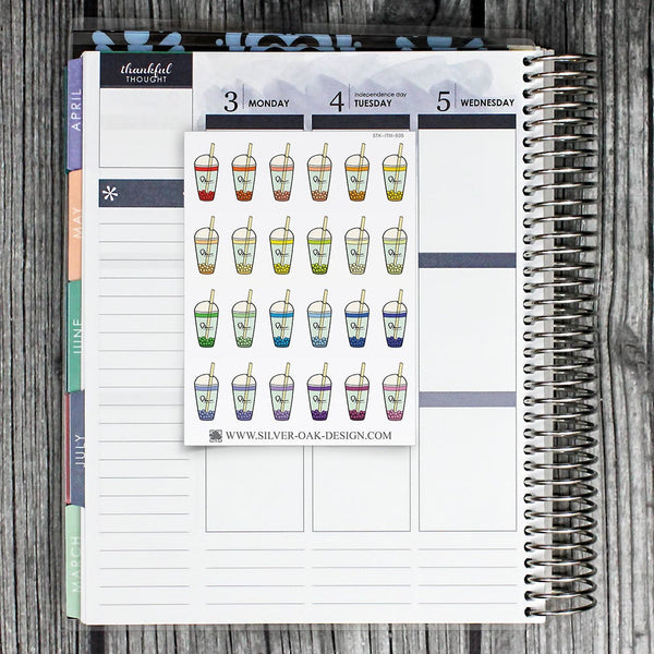 Bubble Tea Planner Stickers | ITM-039