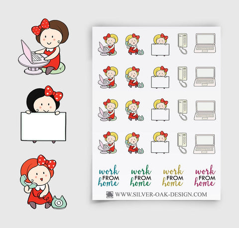 Work From Home Planner Stickers | GRL-055