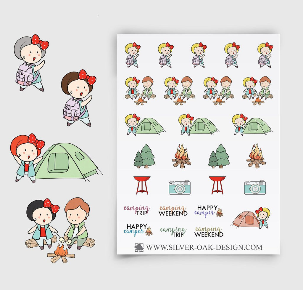 Camping Planer Stickers | GRL-025