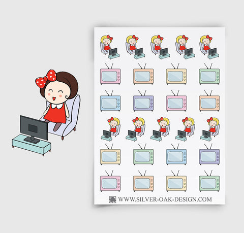 Television Planner Stickers | Custom Hair | GRL-003