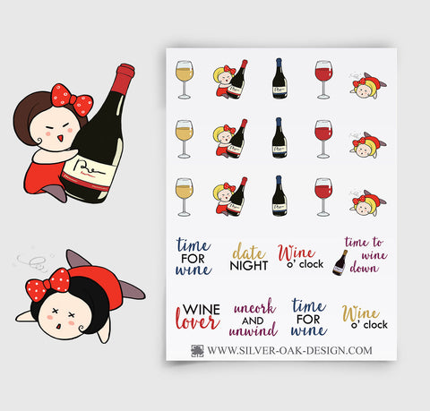 Drinking Wine Planner Stickers | GRL-061
