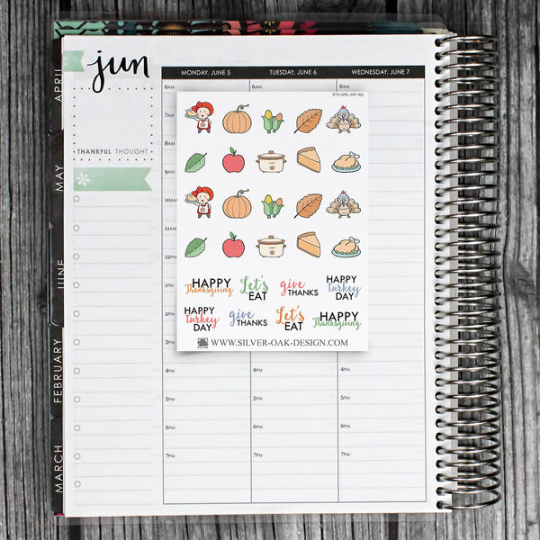 Thanksgiving Planner Stickers | GRL-037
