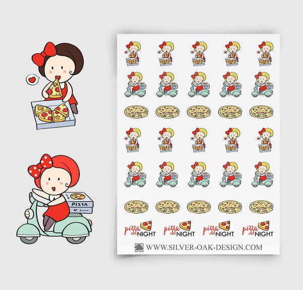 Pizza Night Planner Stickers | GRL-018