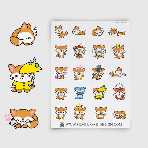 Cute Kawaii Fox Planner Stickers | LLP-005