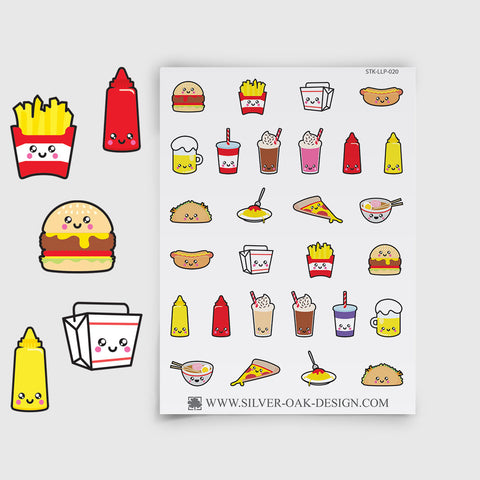 Cute Fast Food Planner Stickers | LLP-020