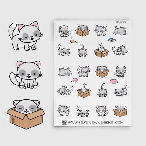Grey Kawaii Kitten Planner Stickers | LLP-007