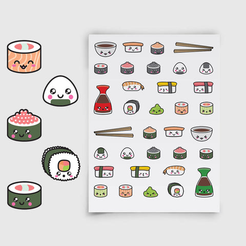 Cute Kawaii Sushi Planner Stickers | LLP-019