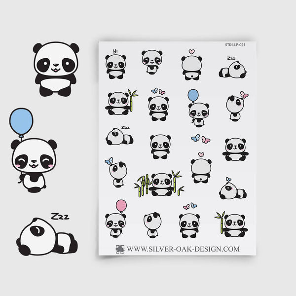 Cute Kawaii Panda Planner Stickers | LLP-021
