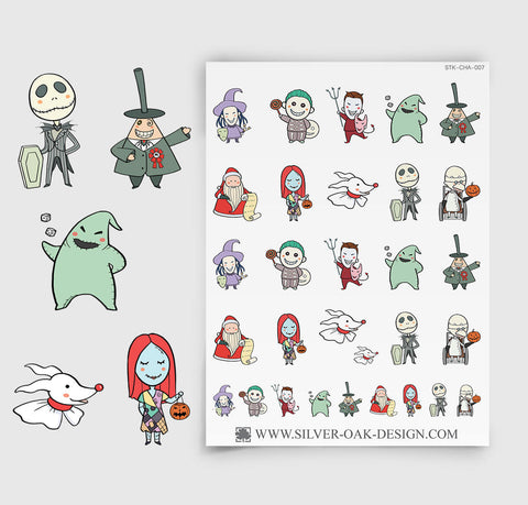 Creepy Christmas Pumpkin Town Movie Planner Stickers | CHA-007