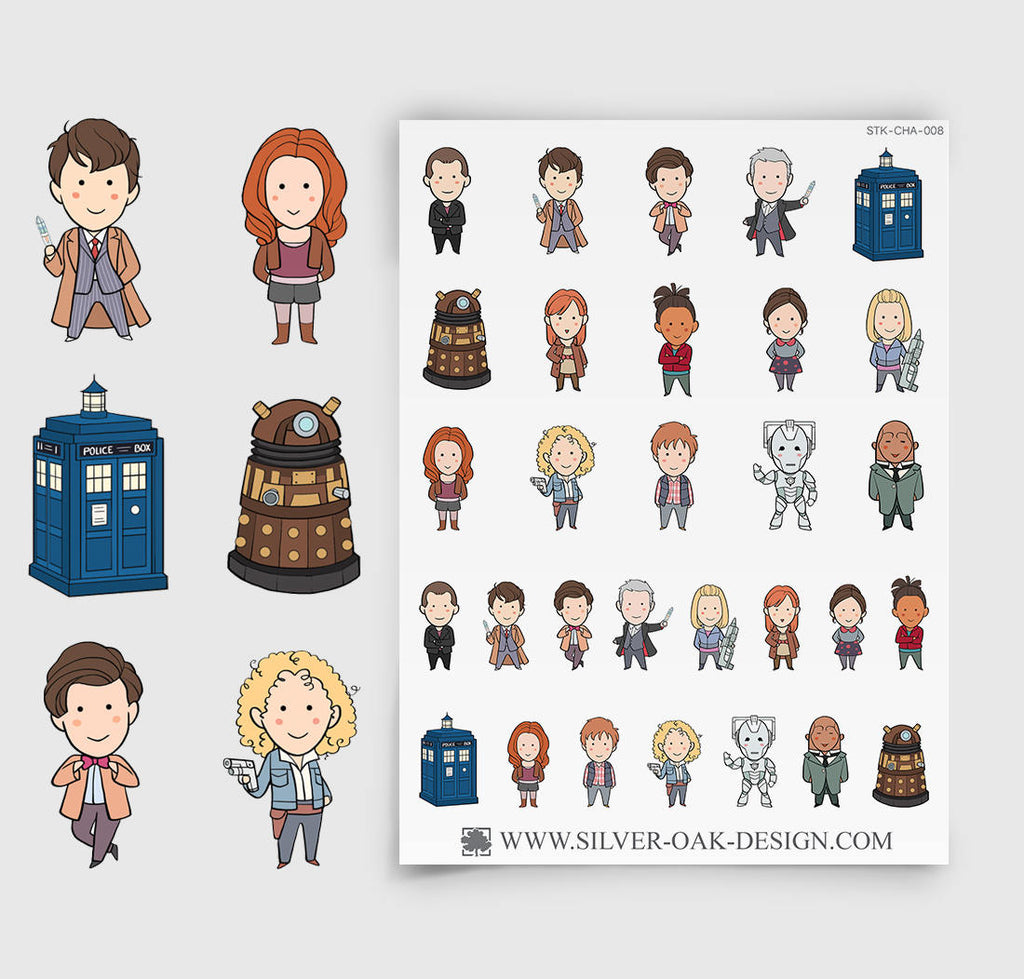 Time Doctor Parody Planner Stickers | CHA-008