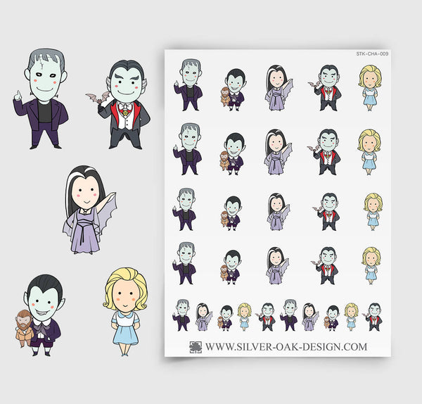 The Monster Family TV parody planner stickers | CHA-009