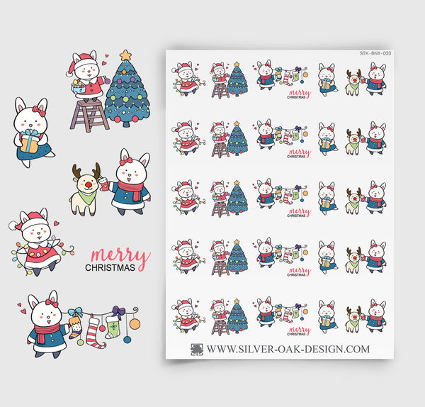 Christmas Planner Stickers | Bunny Rabbit | BNY-033
