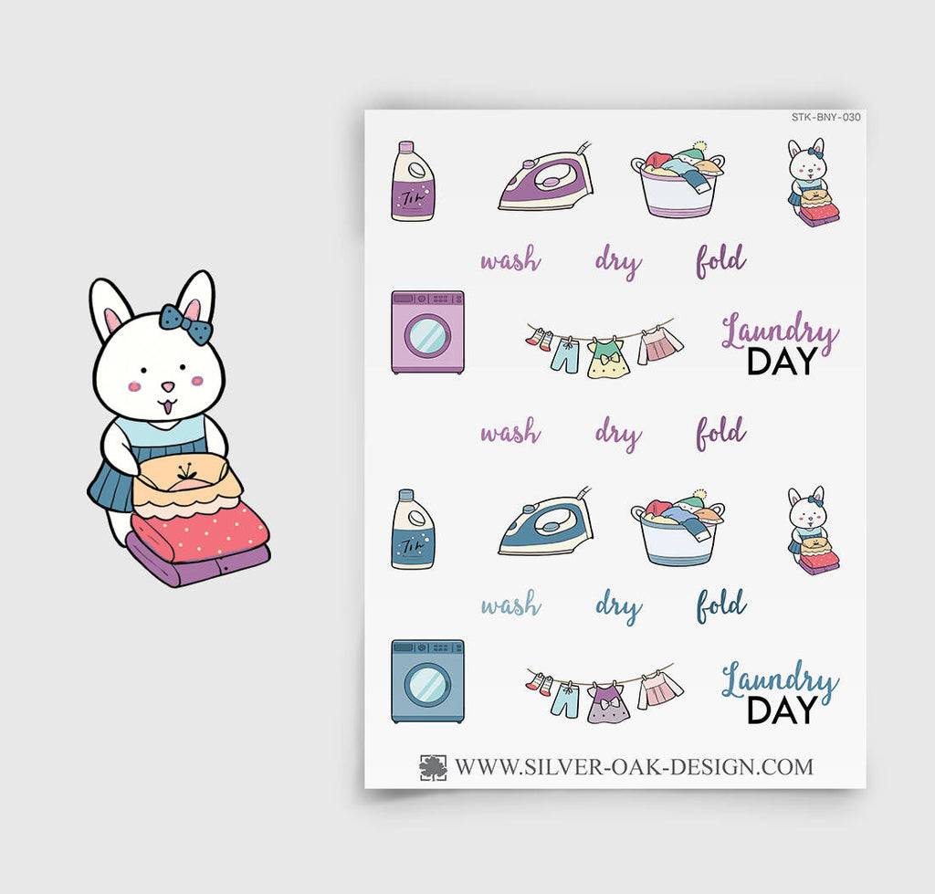 Laundry Planner Stickers | Bunny Rabbit | BNY-030