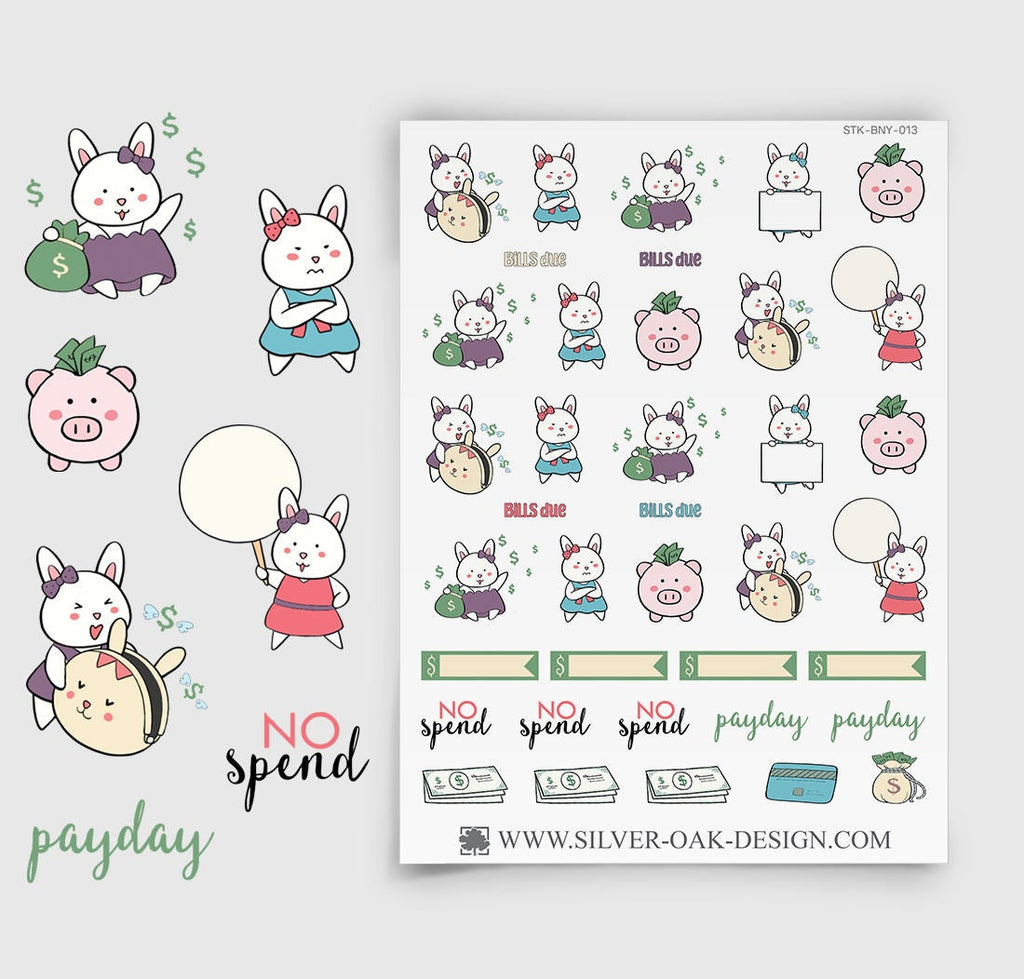 Budget Planner Stickers | Bunny Rabbit | BNY-013
