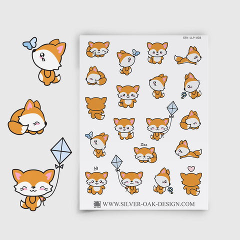 Cute Kawaii Fox Planner Stickers | LLP-003