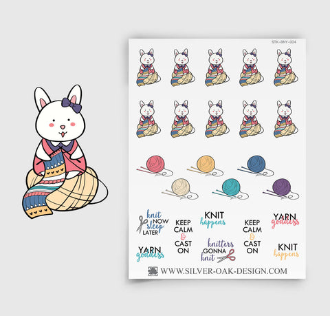 BNY-004 | Bunny Rabbit Knitting Planner Stickers