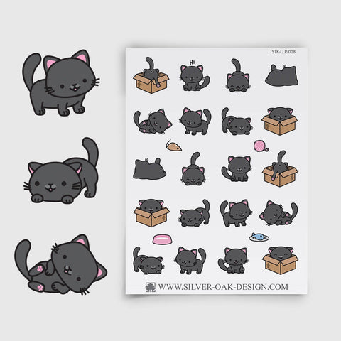 Black Kawaii Kitten Planner Stickers | LLP-008