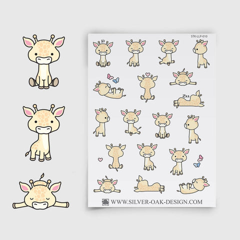 Cute Kawaii Giraffe Planner Stickers | LLP-010