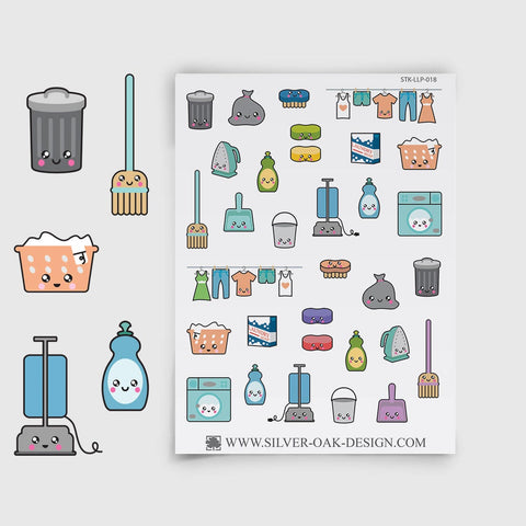 Kawaii Cleaning Planner Stickers | LLP-018