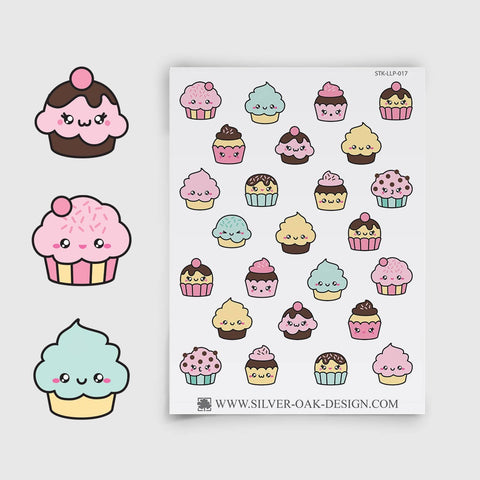 Kawaii Cupcake Planner Stickers | LLP-017